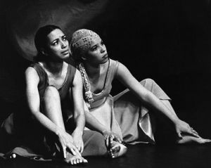 "Ntozake Shange Acting in a Scene from ""For Colored Girls""; photo credit unknown"